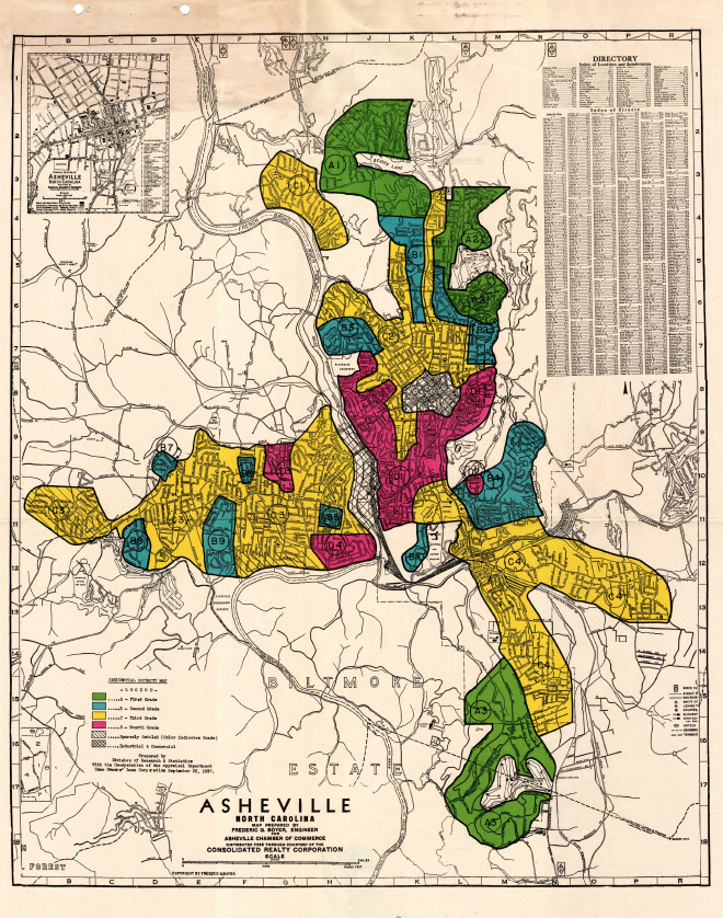The 1937 HOLC map of Asheville. All but one of the areas marked in red are majority African-American. Image via Mapping Inequality.