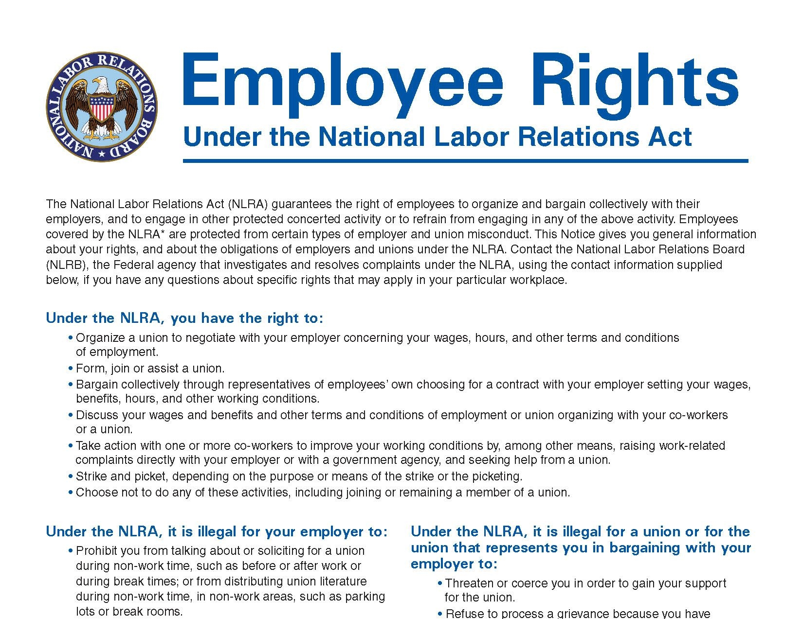 employment rights Employment law whether you are entering the job market for the first time or were recently terminated, it is important to understand your rights as a worker both federal and state governments have enacted a wide range of employment laws protecting employees from discriminatory treatment, unfair labor practices, unsafe work conditions, and more.