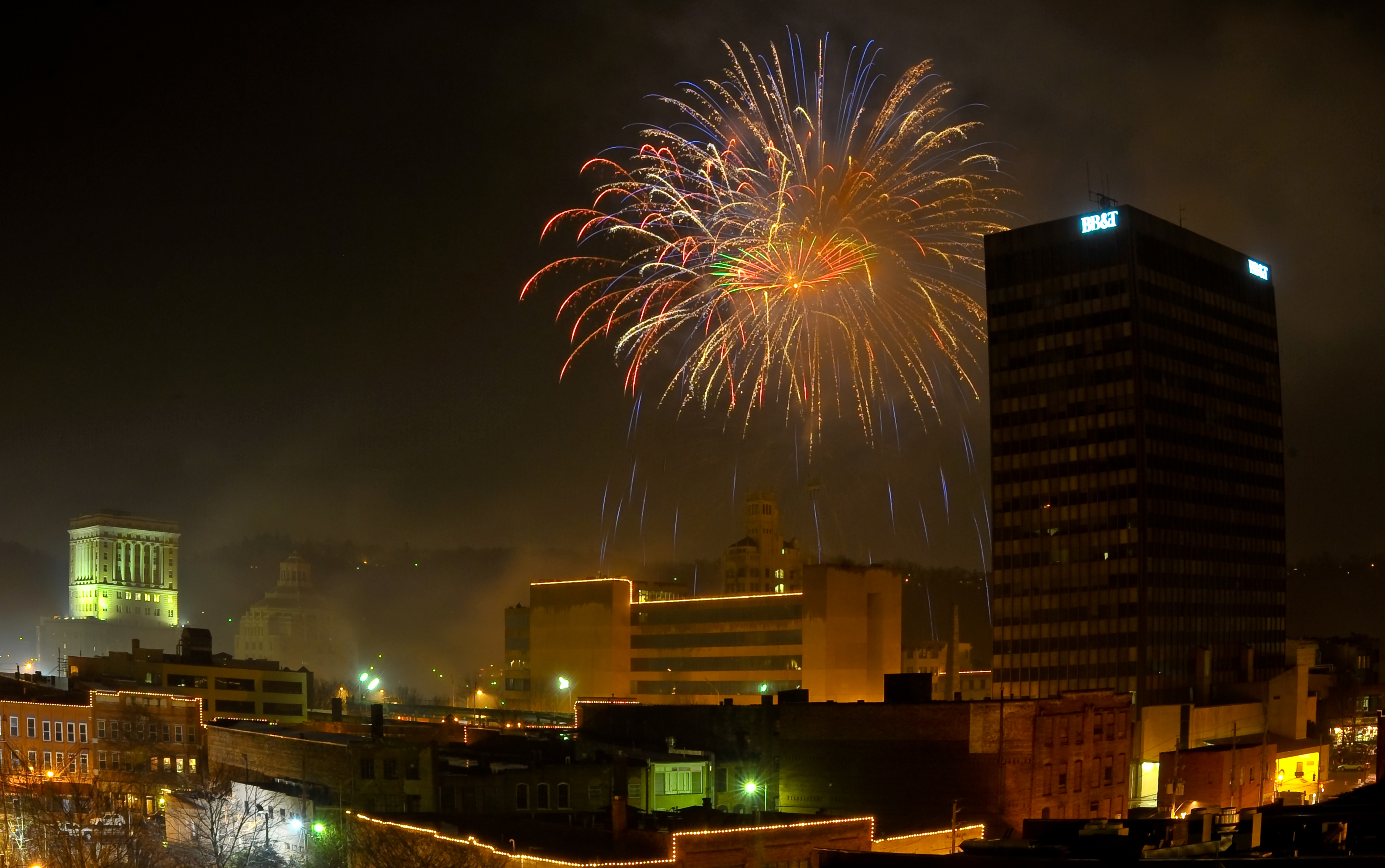 Fireworks outside City Hall. Photo by Bill Rhodes.