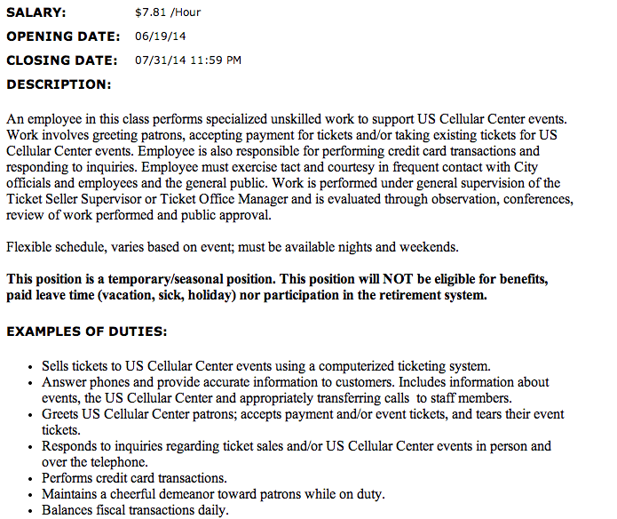 The official listing for a job at the U.S. Cellular Center, from the city of Asheville's website