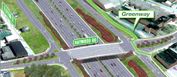 DOT's concept for Haywood Road is an interchange with sweeping turning radii that allow motorists to continue at high speeds when entering the West Asheville business district. These higher speeds entice motorist to continue operating at high speeds on a local business street and create safety threats for bicyclists and pedestrians even with new sidewalks and bike lanes. This image, presented to regional leaders in September, illustrates a greenway along the east side, but shows no bicycle lanes along Haywood Road or crosswalks for pedestrians to get across the route.