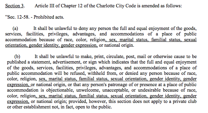 Part of the changes to Charlotte's non-discrimination ordinance, extended to protect LGBT people.