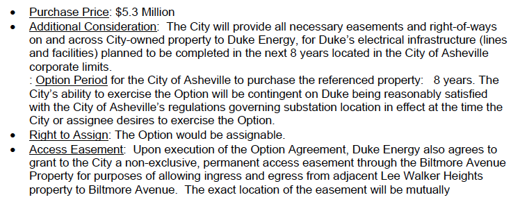 A staff summary of the terms of the deal between the city of Asheville and Duke Energy concerning property neighboring Lee Walker heights.